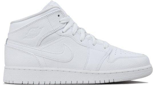 Air Jordan 1 Mid GS White 籃球鞋/運動鞋 (554725-129) 海外預訂