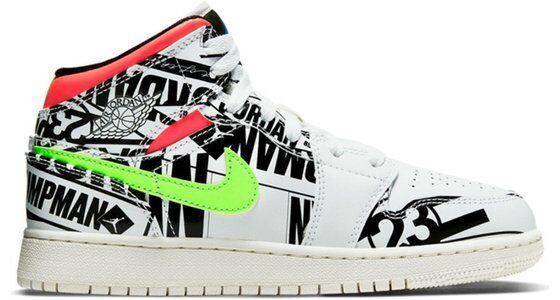Air Jordan 1 Mid GS All Over Logos 籃球鞋/運動鞋 (554725-143) 海外預訂