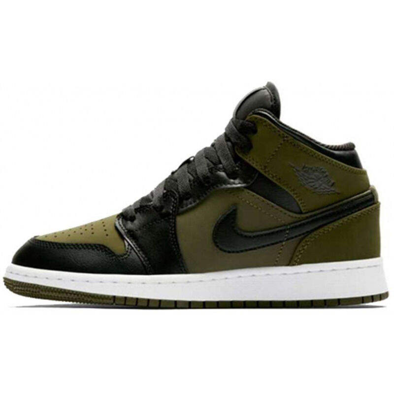 Air Jordan 1 Retro Mid'Olive Canvas' GS Olive Canvas/Black-White 籃球鞋/運動鞋 (554725-301) 海外預訂