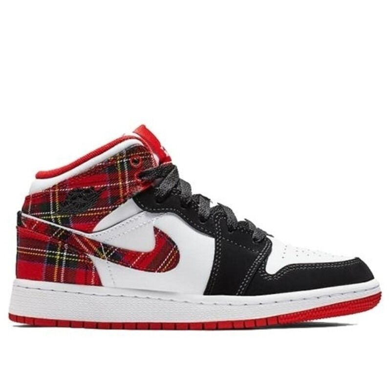Air Jordan 1 Mid GS White Black Red 籃球鞋/運動鞋 (554725-607) 海外預訂