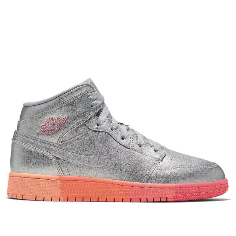 Air Jordan 1 Mid GS Metallic Silver Pink Crimson 籃球鞋/運動鞋 (555112-006) 海外預訂