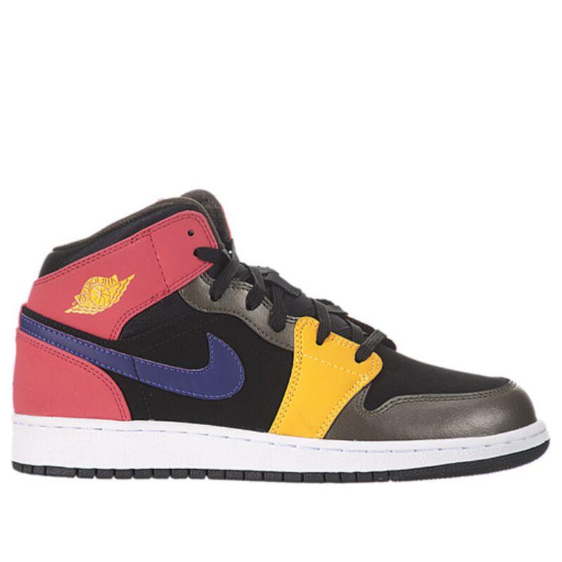 Air Jordan 1 Mid'Multi-Color' GS Black/Court Purple/Fusion Red/Khaki 籃球鞋/運動鞋 (555112-016) 海外預訂