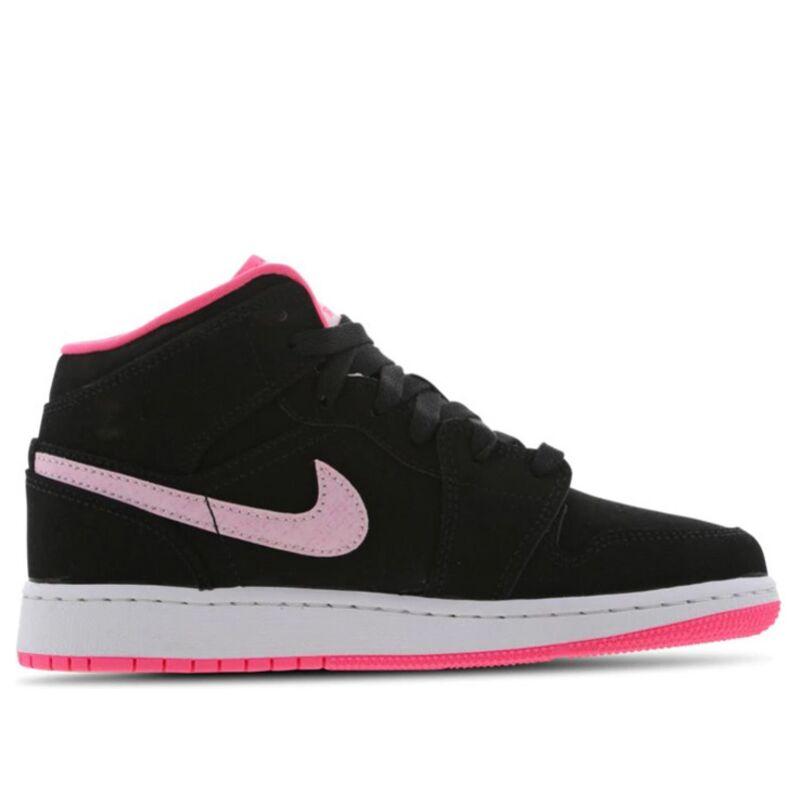 Air Jordan 1 Mid GS 'Black Digital Pink' Black/Pink Foam/Digital Pink/White 籃球鞋/運動鞋 (555112-066) 海外預訂