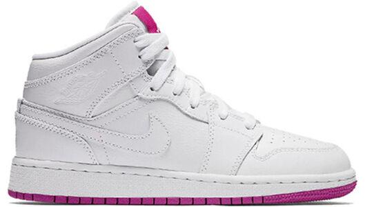Air Jordan 1 Mid'Fuchsia' GS White/Fuchsia Blast/White 籃球鞋/運動鞋 (555112-100) 海外預訂
