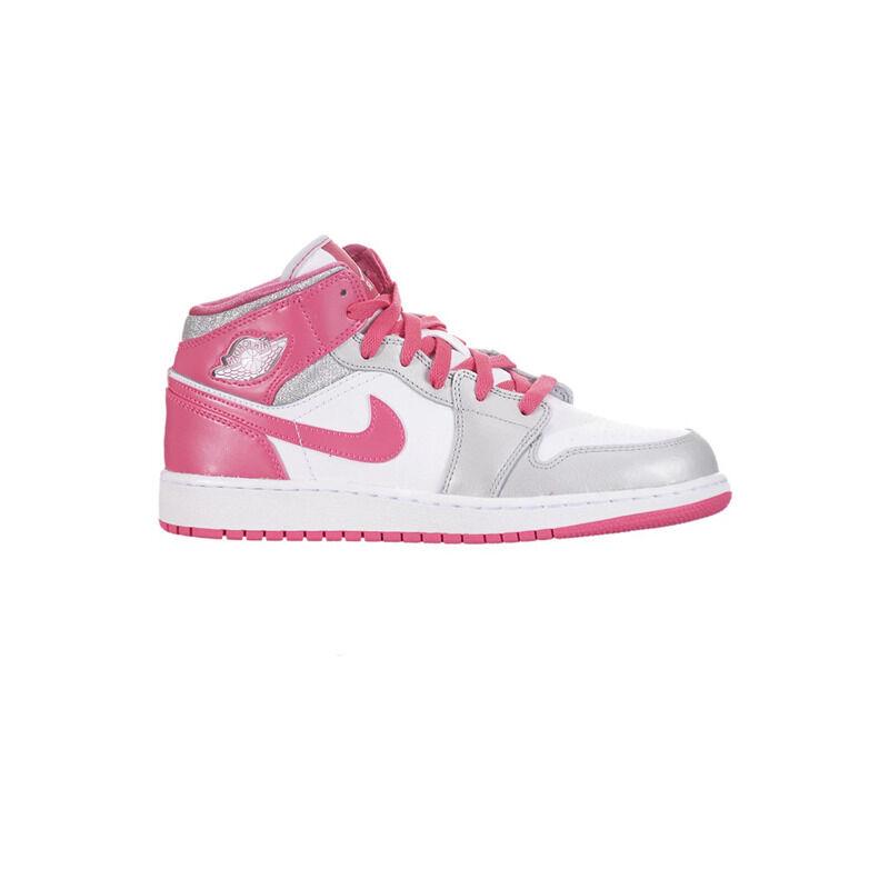 Girls Air Jordan 1 MId GS White Platinum Pink 籃球鞋/運動鞋 (555112-109) 海外預訂
