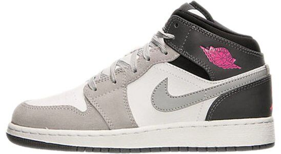 Air Jordan 1 Mid GS 'White Grey Hyper Pink' White/Hyper Pink/Wolf Grey/Dark Grey 籃球鞋/運動鞋 (555112-117) 海外預訂