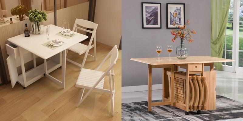 MerryRabbit MR-805 實木可折疊餐桌連四椅子套裝 [2色]