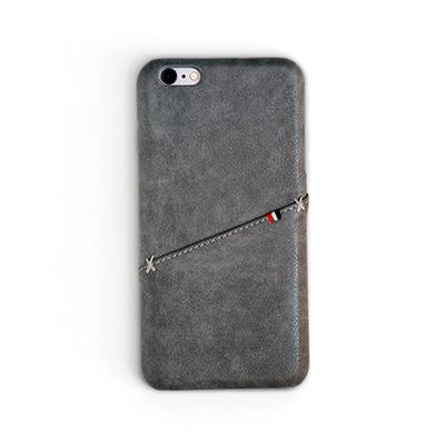 Workshop68 手工iPhone殻 - Fossil Grey Stitch Wallet - iPhone X