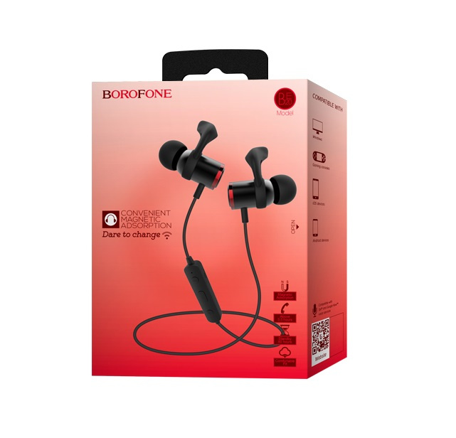Borofone BE20 磁吸藍牙運動耳機 [黑色]