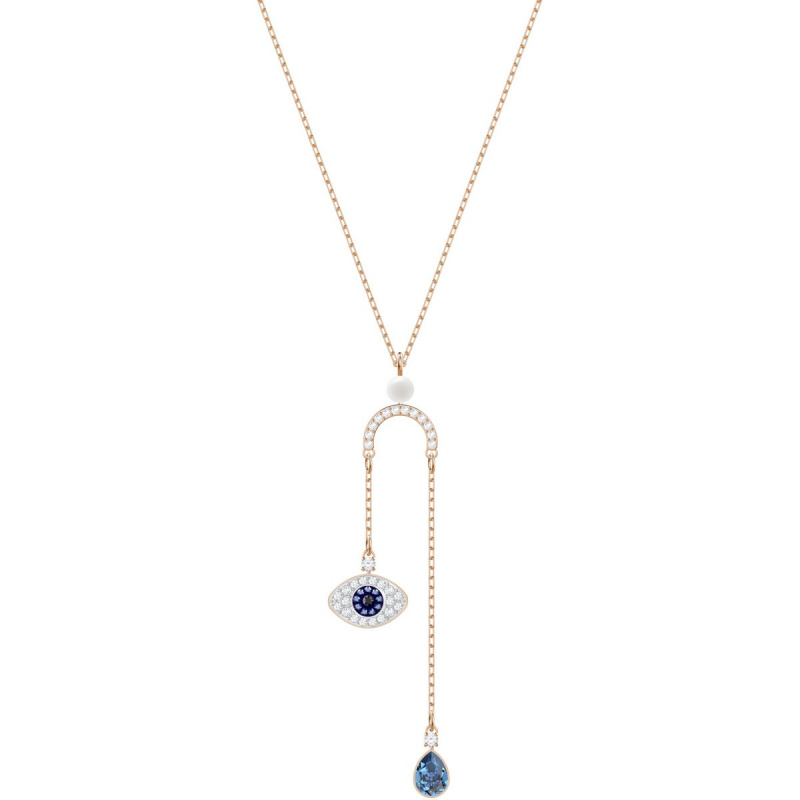 Swarovski Duo Evil Eye Y形鍍玫瑰金色項鏈 (5425861)