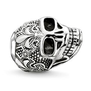 Thomas Sabo Sterling Silver Karma Beads Skull with Lily 串珠 (K0239-637-12)