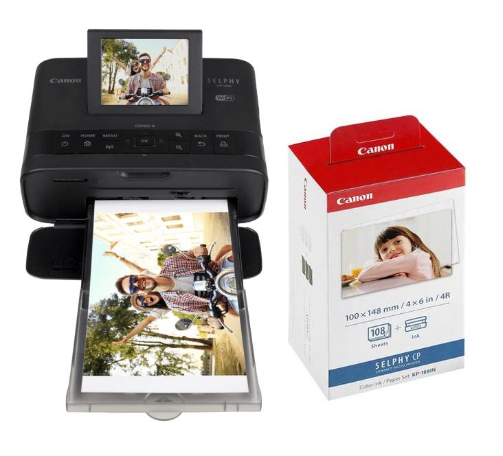 Canon Selphy CP1300 相片打印機+108張相紙套裝 [黑色]