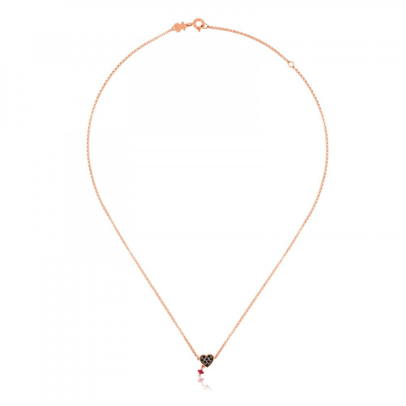 TOUS Rose Vermeil Silver Motif Necklace with Spinel and Ruby 頸鏈 (314932510)