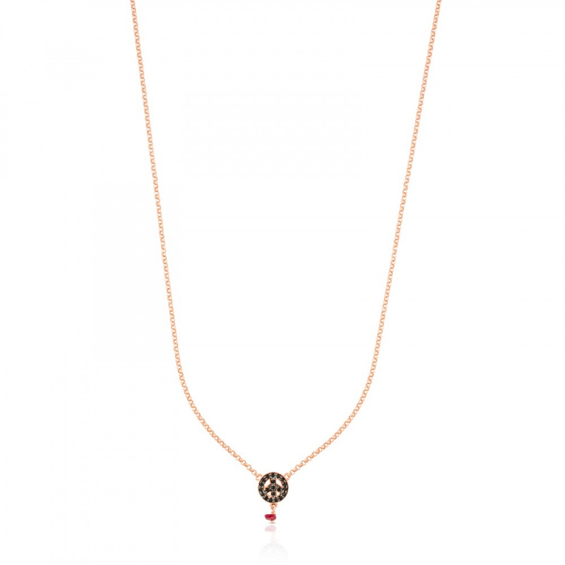 TOUS Pink Silver Motif Necklace with Spinel and Ruby 頸鏈 (314932540)