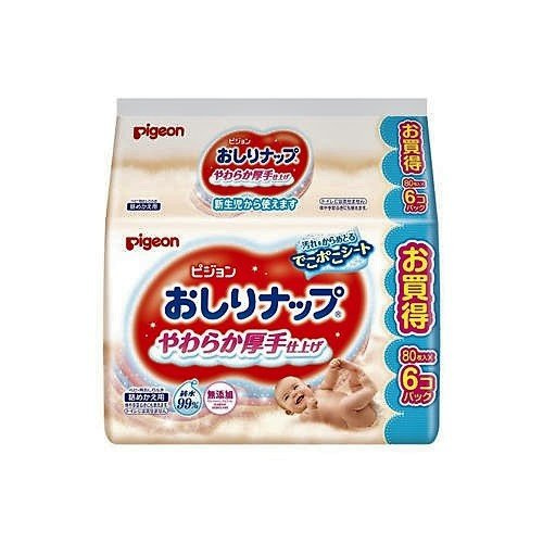 Pigeon 清爽柔潤潔膚嬰兒濕紙巾 (80枚 x 6包)