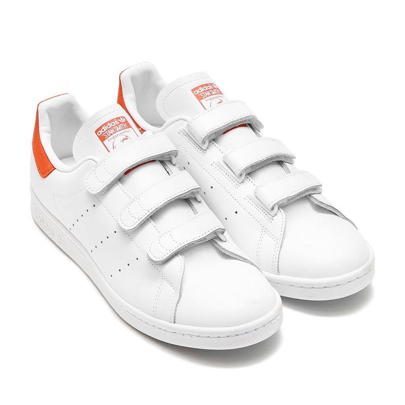 Adidas Originals Stan Smith 魔術貼女裝鞋 [橙色標纖]