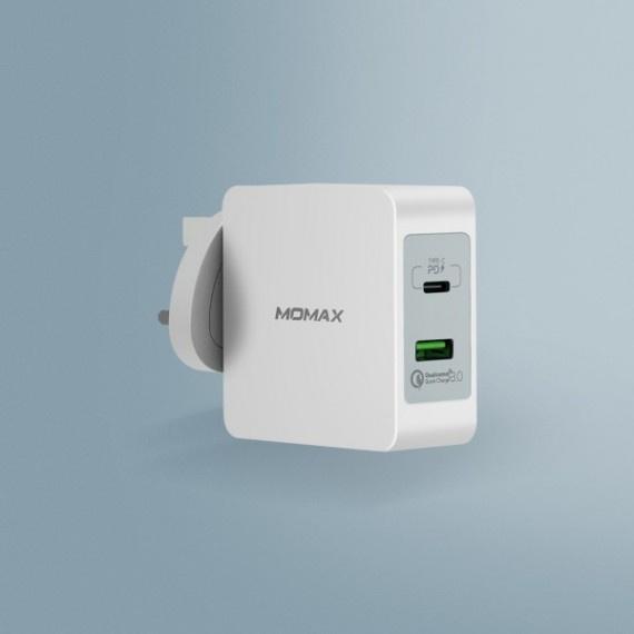 MOMAX Zero USB C to Lightning 1.2m 充電線 + ONEPlug 雙插口智能快速充電器