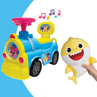 Pinkfong Ride on Train 嬰兒音樂學行車+Baby Shark Singing Plush 音樂公仔[套裝]