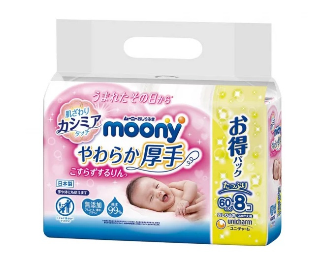 Moony 加厚超柔水份濕紙巾(60枚 x 8包)