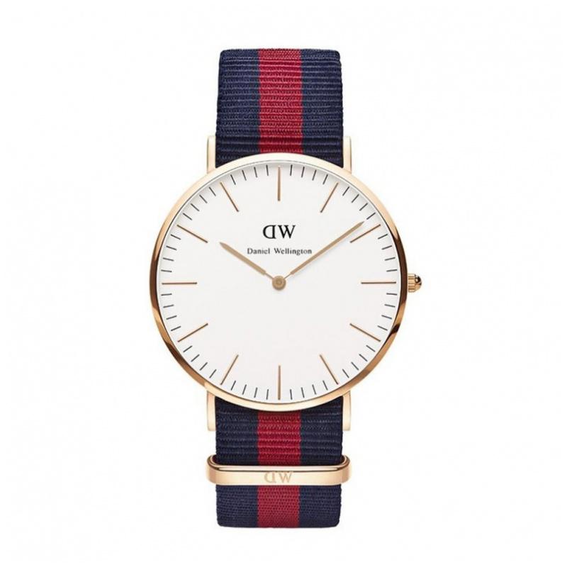 Daniel Wellington Classic Oxford 時尚紅藍尼龍帶錶 (40 36mm)
