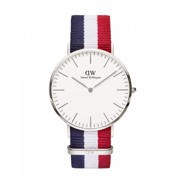 Daniel Wellington Classic Cambridge 時尚藍白紅尼龍帶錶 (40mm)