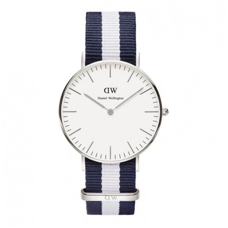 Daniel Wellington Classic Glasgow 時尚藍白尼龍帶錶 (40 36mm)