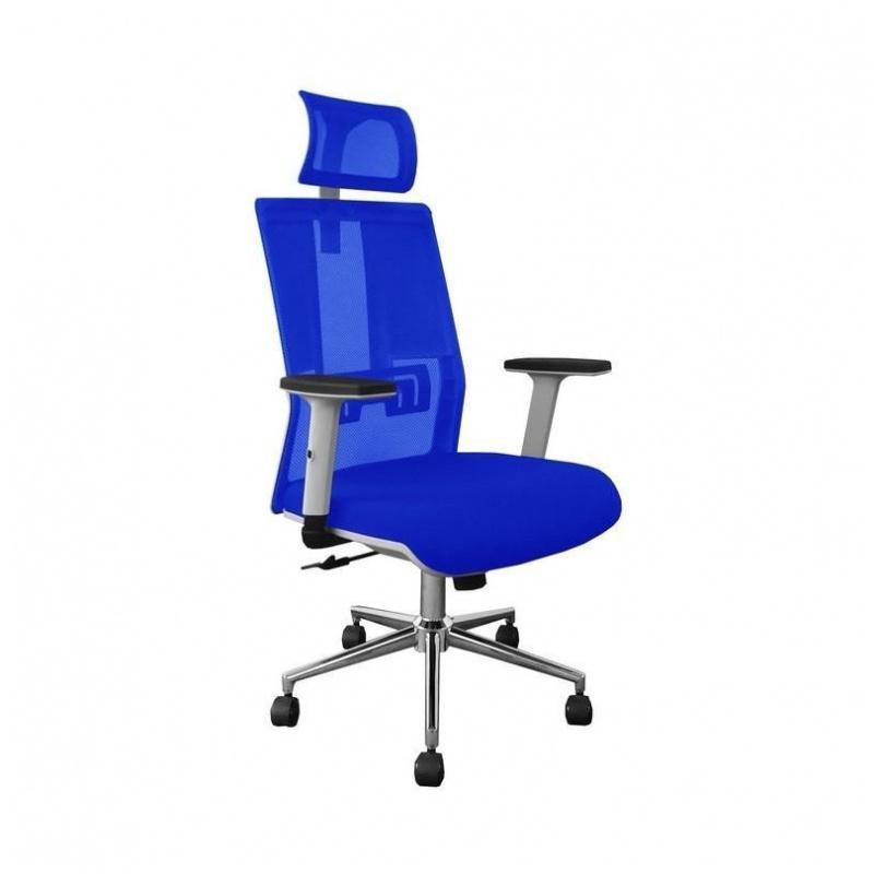 D42 辦公椅 電腦椅 電鍍鋼腳 升降扶手 (藍/黑)