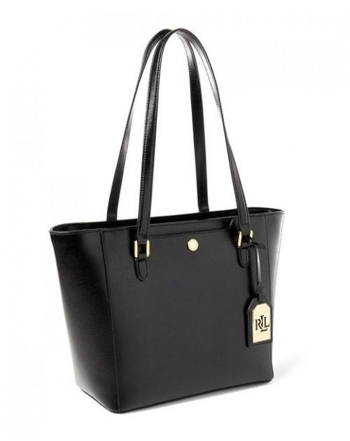 RALPH LAUREN HALEE II SAFFIANO SHOPPER BAG 女裝購物包 托特包 手袋 (黑色) LAU-431644323-001