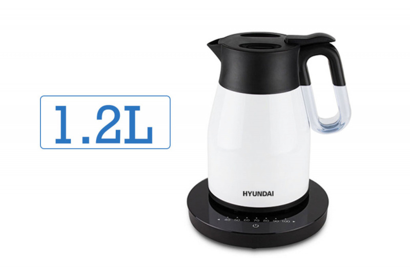 現代 - 真空無線控溫電熱水壺1.2L [HY-KT12EK] (白色)