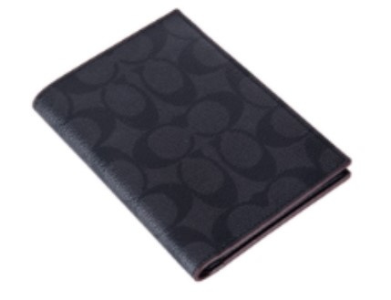 Coach 男士黑灰色短款證件夾(F26074)-Black/Black/Oxblood