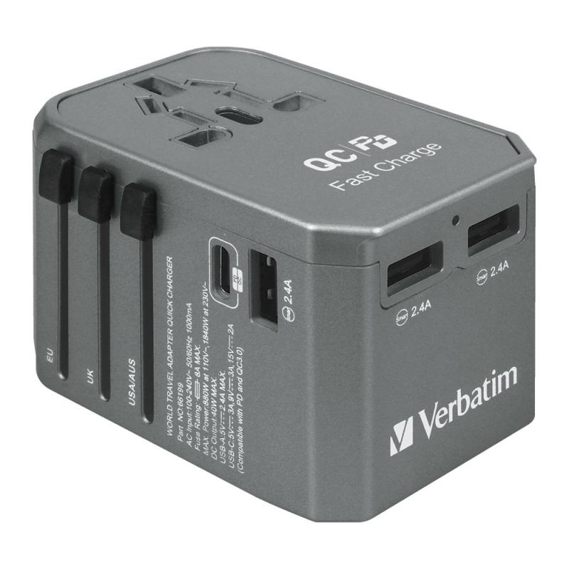 Verbatim 4 Ports 40W PD旅行充電器 [2色]
