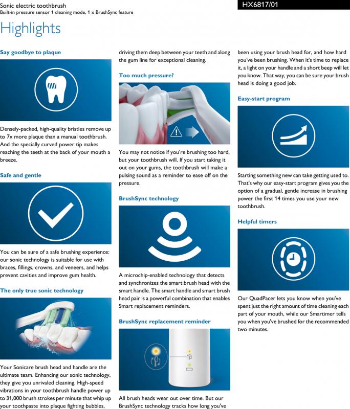 🇺🇸💥美國直送🇺🇸💥Philips 飛利浦智慧型7倍速除牙菌膜 聲波電動牙刷 HX6817 (多種顯示及提示功能)