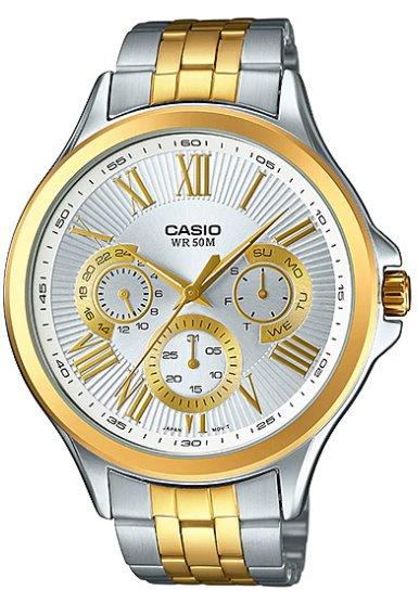 CASIO #MTP-E308SG-7A 礦物玻璃不鏽鋼錶帶指針錶