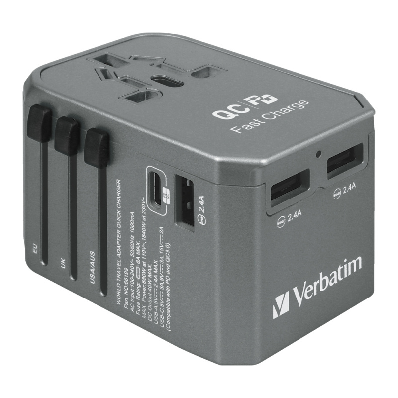 Verbatim 4 Ports Universal Travel Adapter