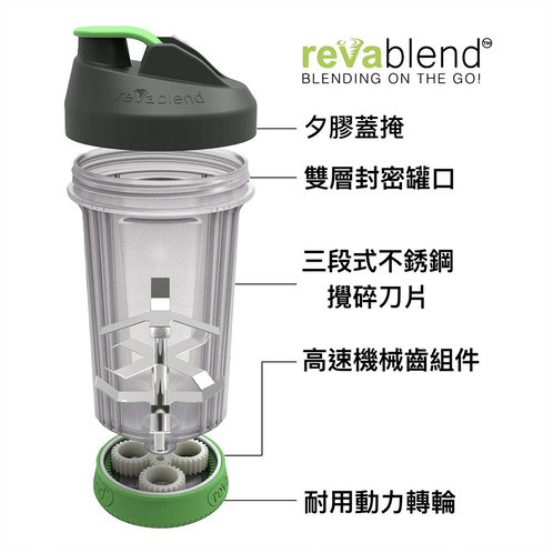 [美國品牌] Revablend - 免電式手動攪伴果汁水樽便攜杯 黑色‧16盎司