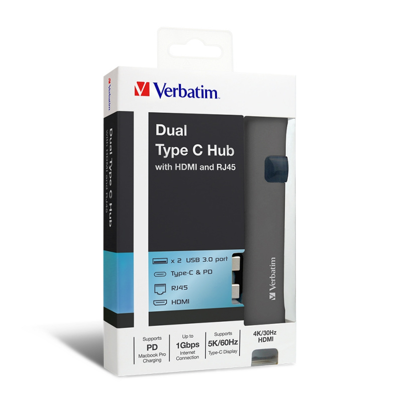 Verbatim - Type C 雙接頭擴展器連 HDMI及RJ45網線