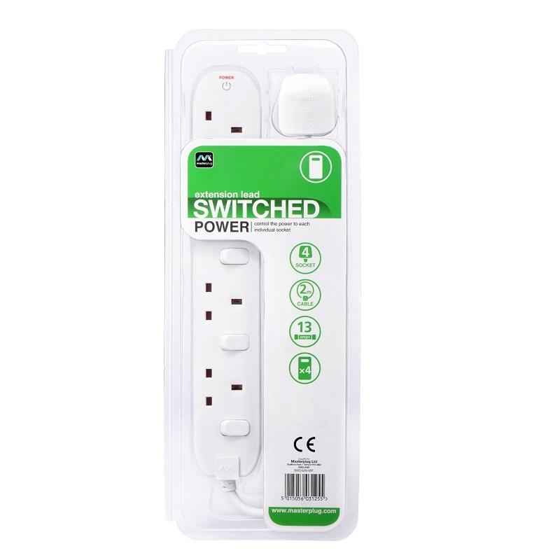 英國Masterplug - 4位X13A 2米獨立開關拖板 有電源指示燈 - SWC42N Individual Switched 4 Socket 2M Extension Leads