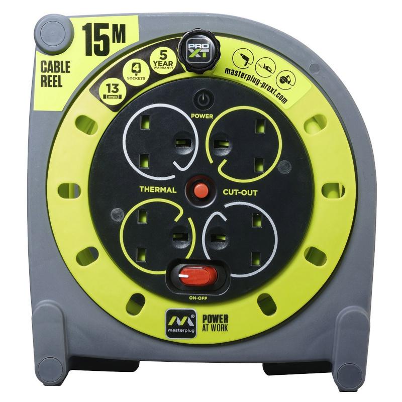 英國Masterplug - 4 X 13A 15米拖轆拖板 易控把手 收納或伸展電線 有電源開關掣 PRO-XT HMU15134SL 15M Reels