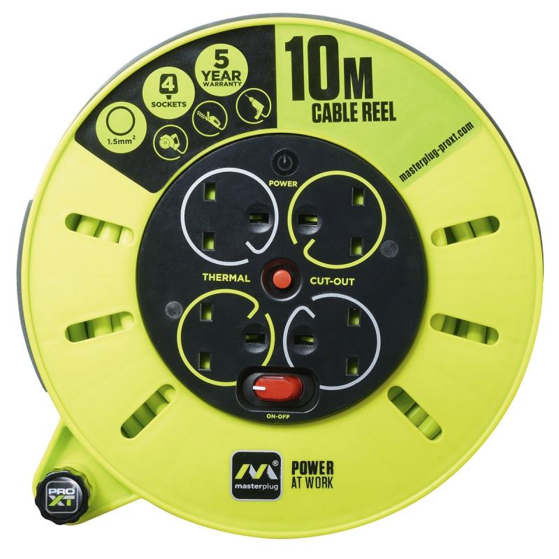 英國Masterplug - 4 X 13A 10米拖轆拖板 PRO-XT CMU10134SLReels 10M