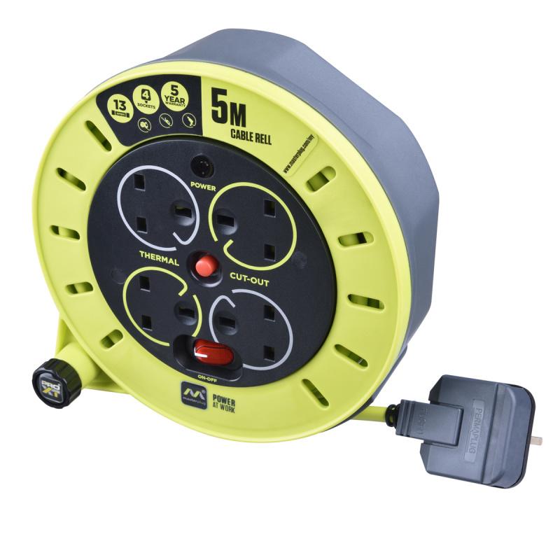 Masterplug - 4 X 13A 5米拖轆拖板 易控把手 收納或伸展電線 有電源開關掣 PRO-XT CSU05134SL