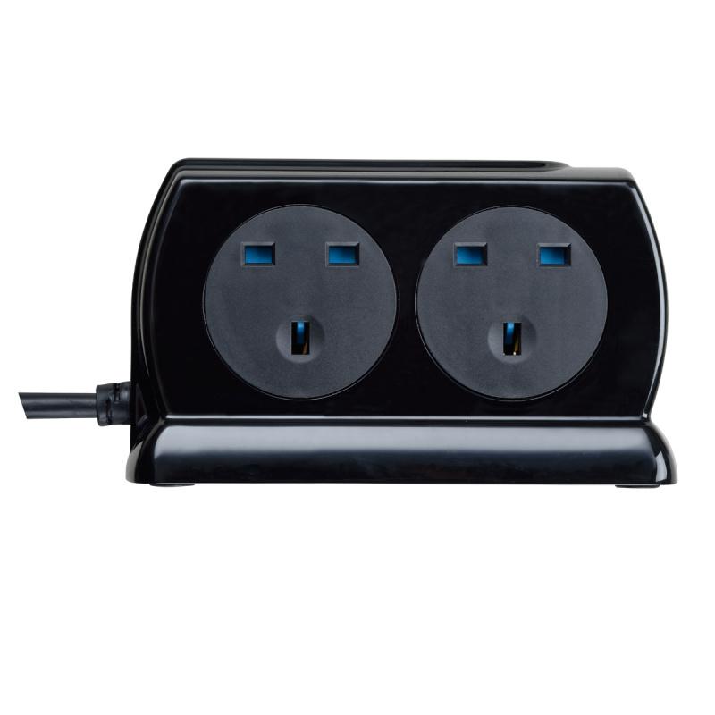 英國Masterplug - Compact 2位 USB 3.1A 及 4位X13A 2米防雷拖板 有電源指示燈 背靠背設計 慳位實用 亮麗黑色 SRGDSU42PB Surge Protected 4 Sockets 2M Extension Leads