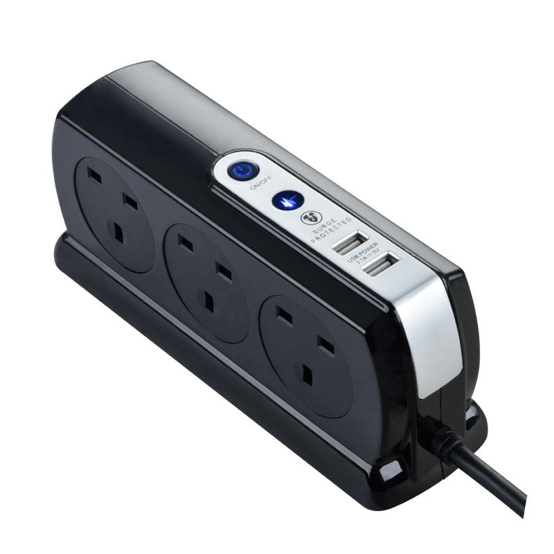 英國Masterplug - Compact 2位 USB 3.1A 及 6位X13A 2米防雷拖板 有電源指示燈 背靠背設計 慳位實用 亮麗黑色 SRGDSU62PB Surge Protected 6 Sockets 2M Extension Leads