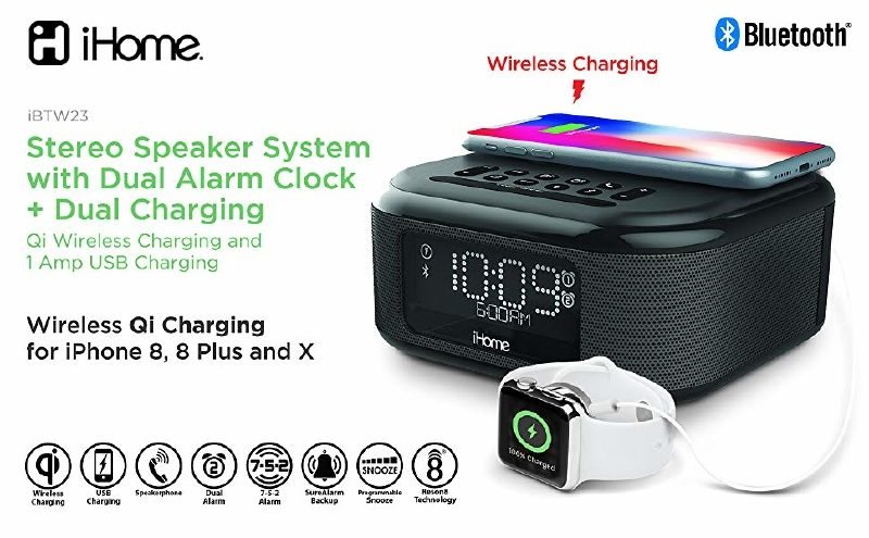 iHom IBTW23 Alarm With Wireless Charging Speaker