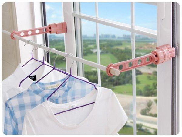 日本Sattsu 夾窗式晾衣掛架 (5掛位)