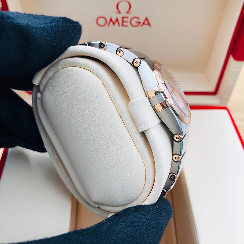 OMEGA 歐米茄 星座系列 曼克頓 28毫米 不銹鋼-玫瑰金 銀面 石英 131.20.28.60.02.001