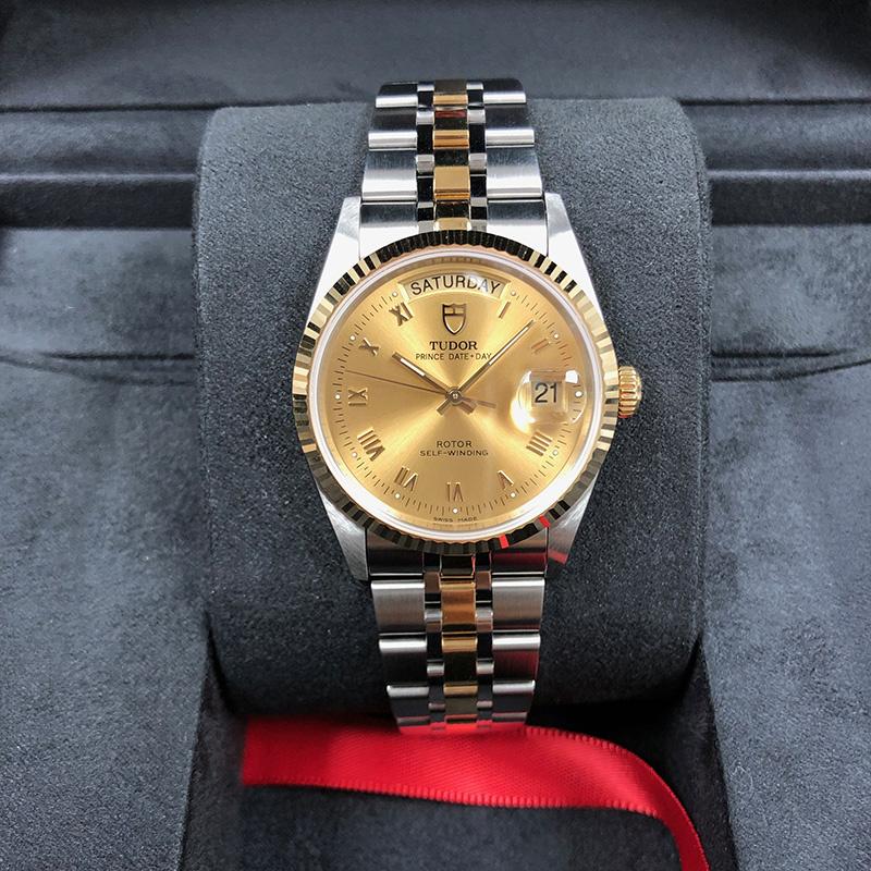 Tudor/帝舵 Prince Date Day 36mm 黃金-不銹鋼 香檳面 自動機械 M76213-0021