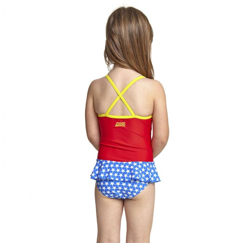 Zoggs 女童神奇女俠連身裙泳衣-紅/黃/藍