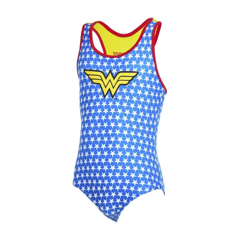 Zoggs 女童神奇女俠運動泳衣-藍/黃