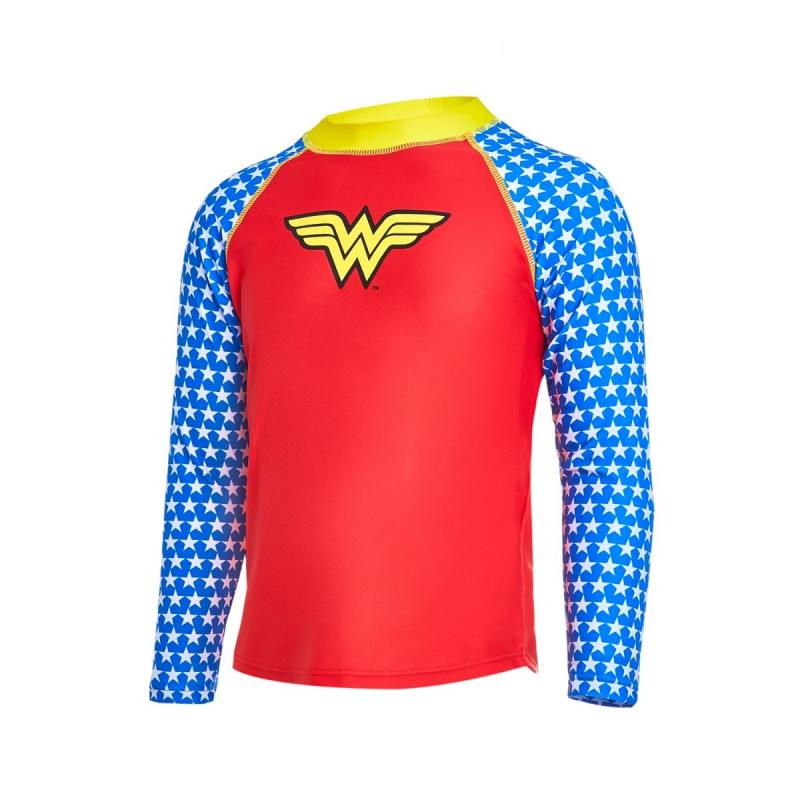 Zoggs 兒童神奇女俠長袖防曬上衣-紅/藍