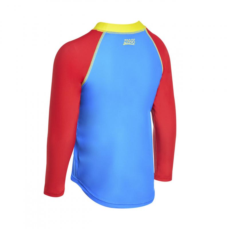 Zoggs 兒童超人長袖防曬上衣-紅/藍